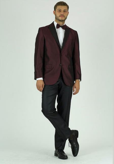 Mens Single Breasted 2 Button Classic Fit Burgundy Peak Lapel Jacket