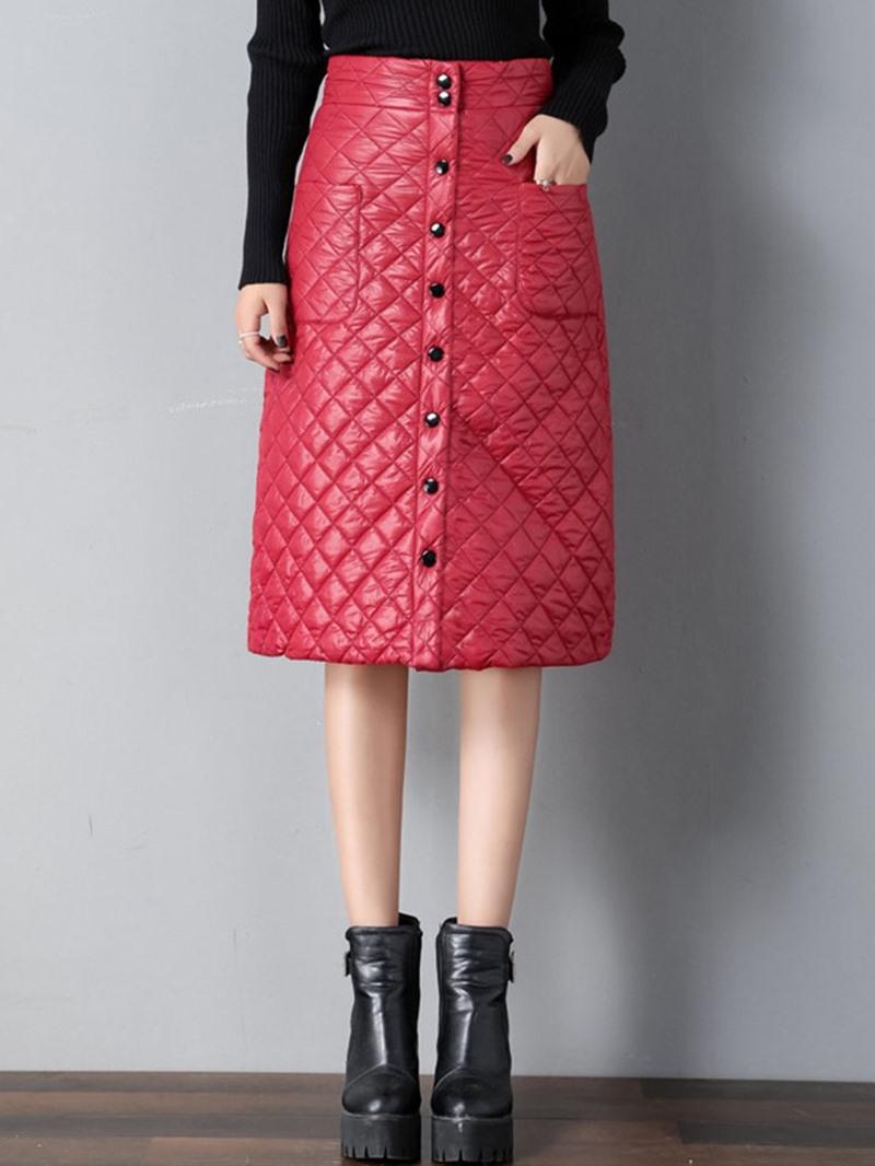 Ericdress A-Line Mid-Calf Plain Casual Skirt