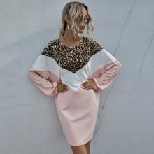 Vestido sudadera de color combinado de leopardo en contraste