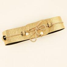 Faux Pearl Detail Wide Belt