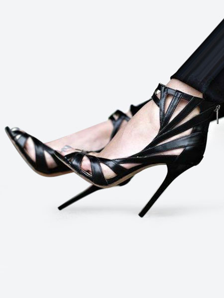 Milanoo Sandalias de punter Peep Toe Sandalias de tacon alto Zapatos de mujer sandalias con cordones en los tobillos