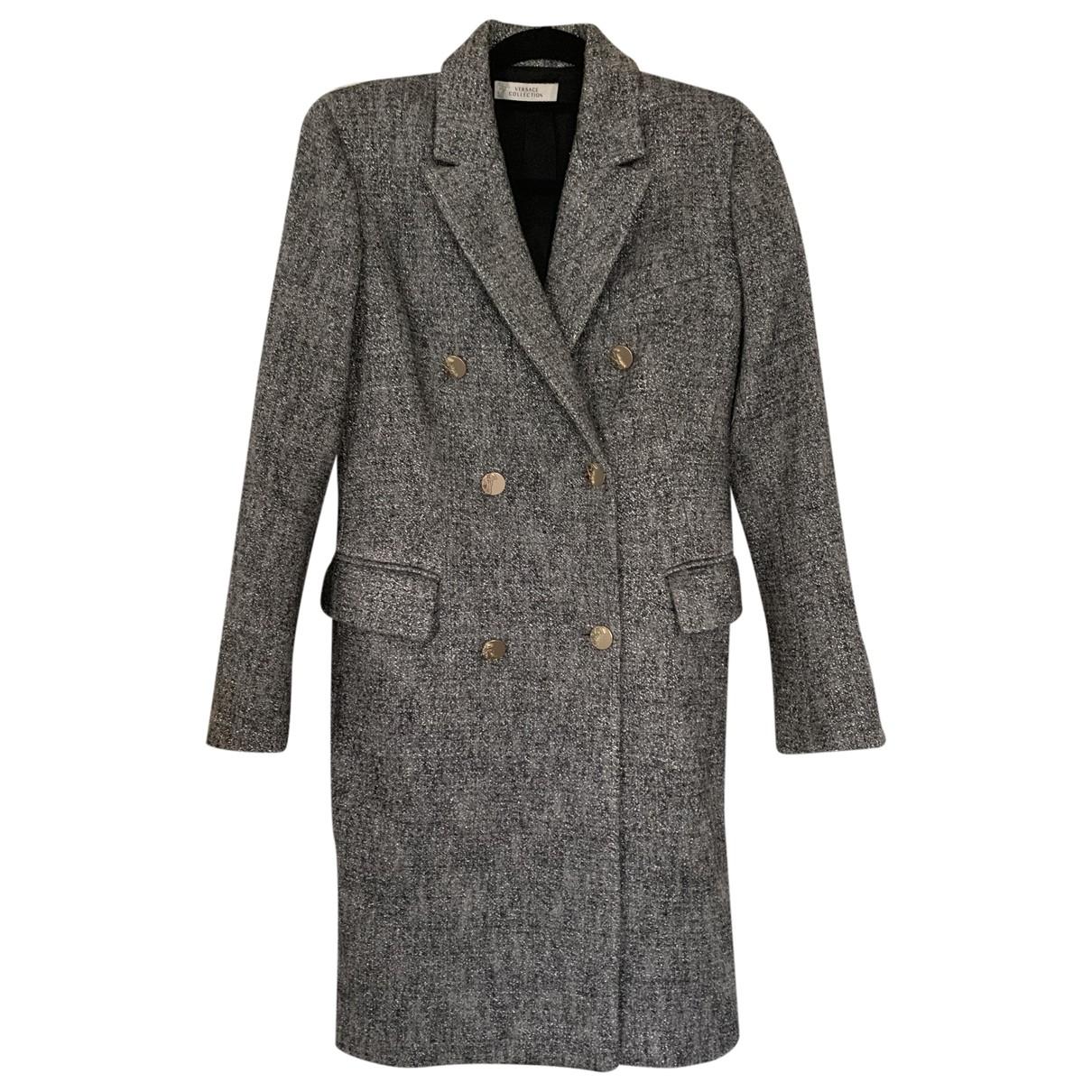 Versace - Manteau   pour femme en laine - gris