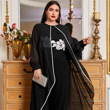 Plus Contrast Piping Guipure Lace Floral Foldover Jumpsuit
