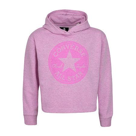 Converse Big Girls Fitted Sleeve Hoodie, Large , Pink
