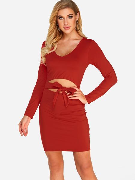 Yoins Red Self-tie Design Plain Deep V Neck Cut Out Details Long Sleeves Dress