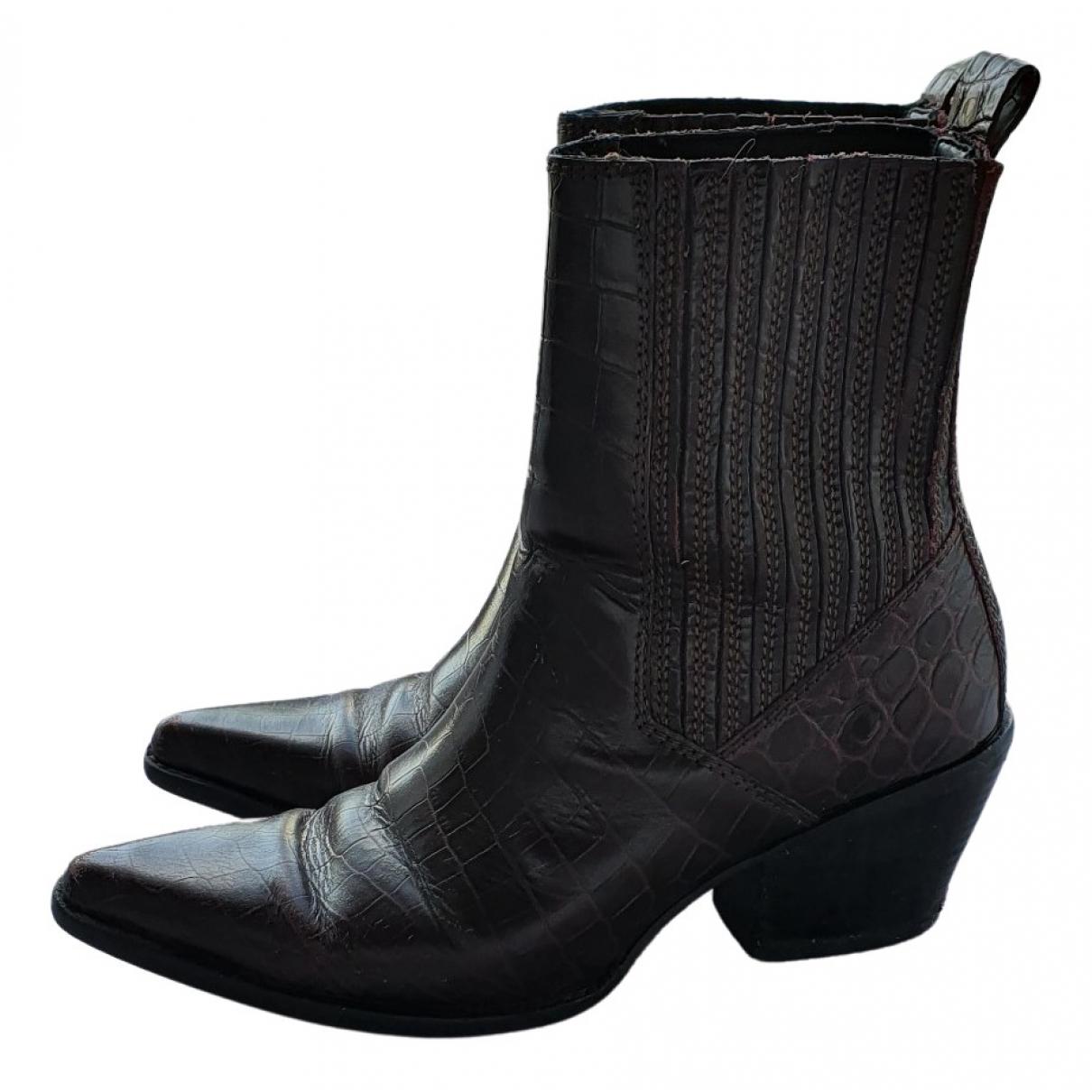 Zara - Boots   pour femme en cuir - bordeaux