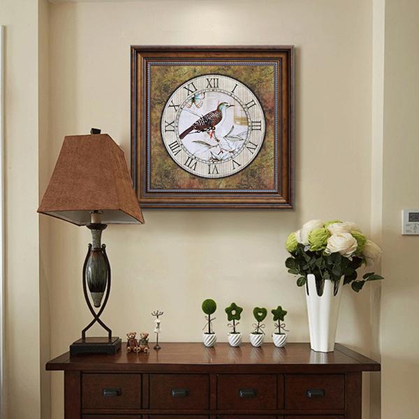 Classic European Style Bird Clock Pattern Framed Wall Art Print