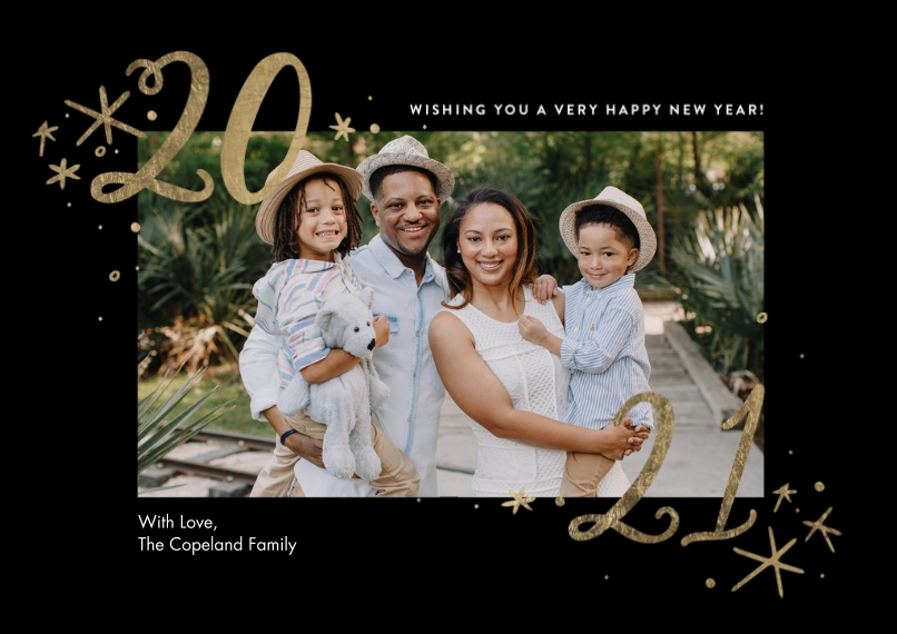 New Year's Photo Cards Mail-for-Me Premium 5x7 Flat Card, Card & Stationery -2021 Stars by Tumbalina