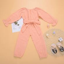 Toddler Girls Solid Flounce Sleeve Belted Jumpsuit