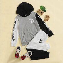 Boys Letter Graphic Hoodie & Spliced Sweatpants Set