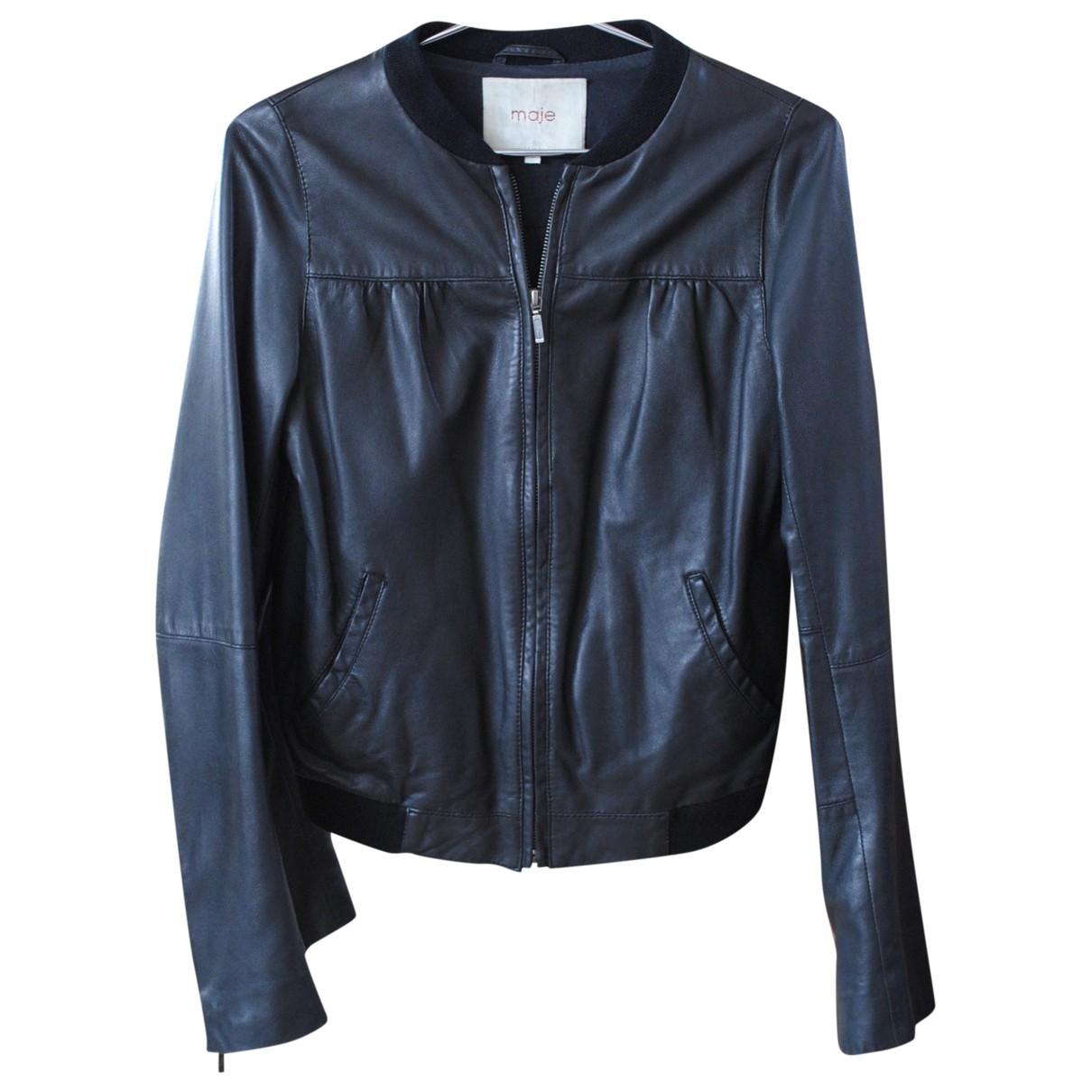 Maje \N Black Leather jacket for Women S International