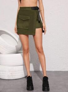 Pocket Detail Wrap Skirt