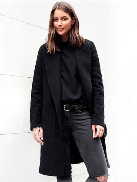 Milanoo Women\'s Coat Camel Turndown Collar 3/4 Length Sleeves Oversized Casual Wrap Winter Outerwear