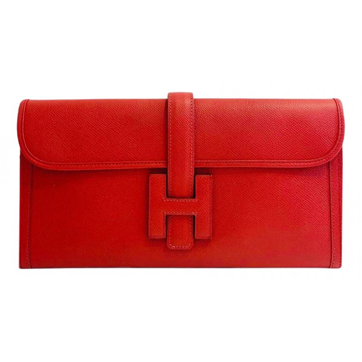 Hermes - Pochette Jige pour femme en cuir - rouge