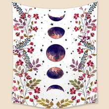 Flower & Moon Print Tapestry