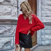 Solid Rib-Knit Drop Shoulder Sweater