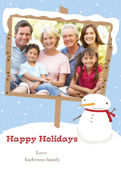 Holiday Photo Cards 5x7 Cards, Premium Cardstock 120lb, Card & Stationery -Snowman Sign