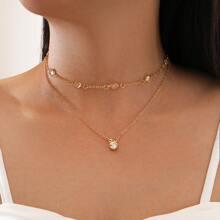 2 Stuecke Halskette mit Strass Dekor