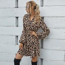 Leopard Print Knot Front Shirt Dress