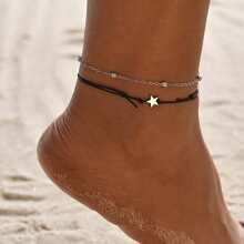 2pcs Star Decor Layered Beaded Anklet