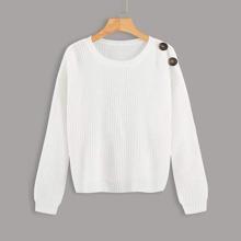 Einfarbiger Pullover mit Knopfen Detail