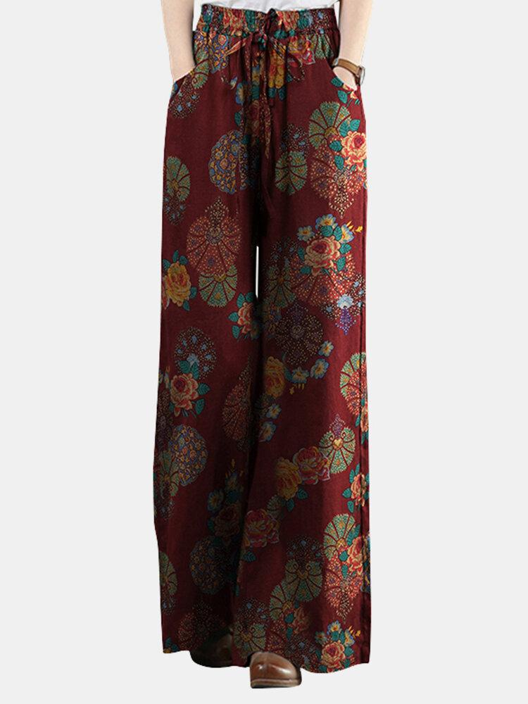 Retro Floral Printed Elastic Waist Straight-Legged Pants