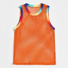 Men Sheer Fishnet Colorful Ringer Tank Top