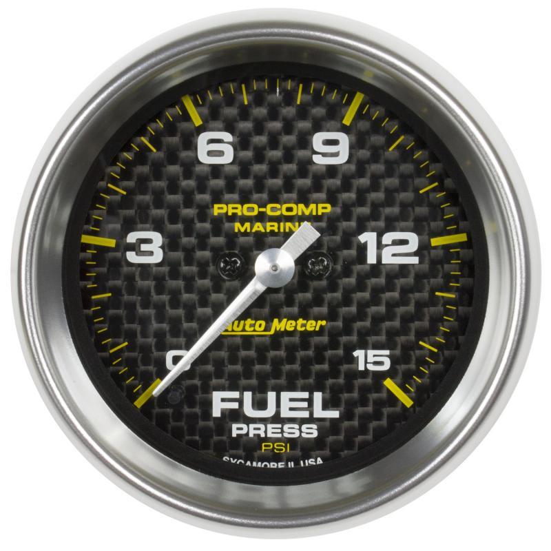 AutoMeter GAUGE; FUEL PRESSURE; 2 1/16in.; 15PSI; DIGITAL STEPPER MOTOR; MARINE CARBON FIB