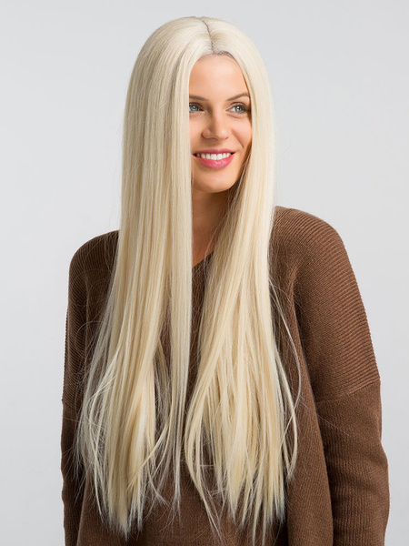 Milanoo Lace Front Wigs Blonde Hair Wigs Women Layered Long Straight Synthetic Wigs