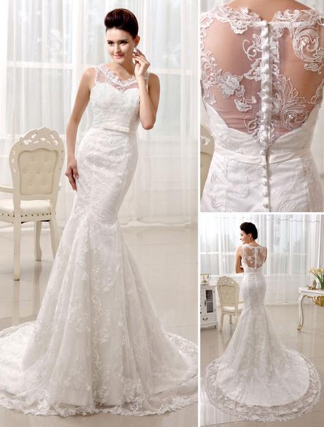 Milanoo Vestido de novia de encaje con cuello en V y botones de cola larga
