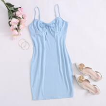 Tie Front Ruched Bust Cami Dress