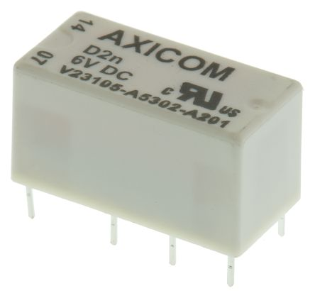 TE Connectivity , 6V dc Coil Non-Latching Relay DPDT, 3A Switching Current PCB Mount, 2 Pole