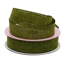 Polyester Moss Faux Linen Ribbon - 1-1/2 X 25yd - Polyethyleneester - Greeting Cards by Paper Mart