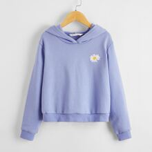 Girls Daisy Floral Embroidered Hoodie