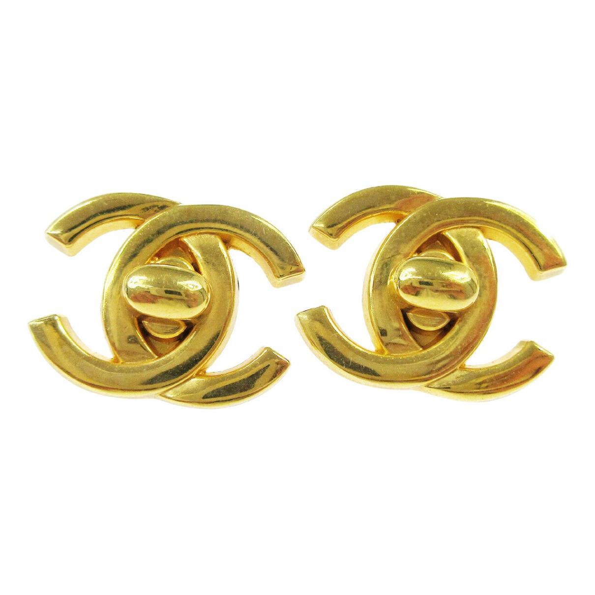 Chanel - Boucles doreilles CC pour femme en metal - jaune