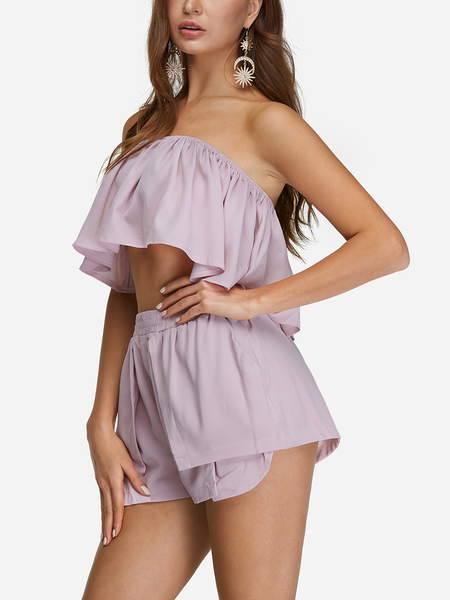 Yoins Pink Sexy Off Shoulder Layered Co-ord