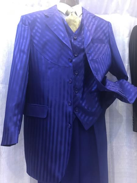 Milano Moda Royal Blue Mens Pinstripe High Fashion Vested Suits