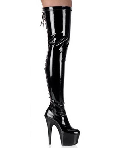Milanoo Botas negras de charol de tacon alto de estilo sexy