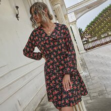 Allover Floral Print A-line Dress