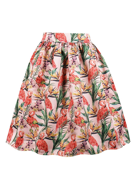 Milanoo Women Vintage Skirt Flamingo Printed Retro Swing Skirt
