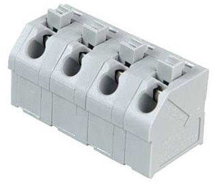 Wago 250 Series, Female 4 Pole 4 Way PCB Terminal Strip, PCB Mount, Rated At 10 (CSA) A, 17.5 (IEC/EN 60664-1) A, 2, Grey (10)