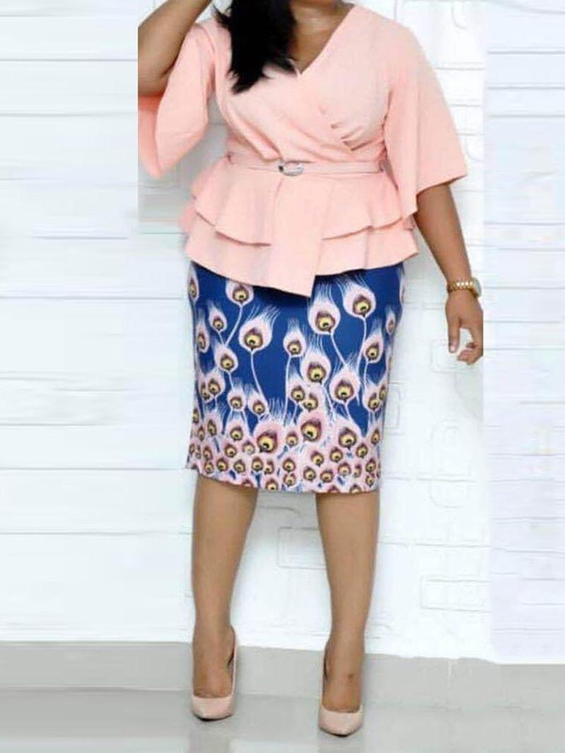 Ericdress African Fashion Dashiki Print Bodycon Two Piece Sets