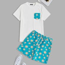 Maenner T-Shirt mit Taschen Flicken und Shorts Set mit Sonne Muster