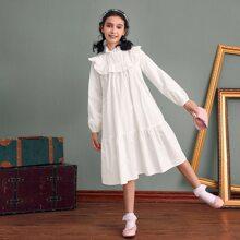 Kleid mit Rueschenbesatz, Laternenaermeln und Selbstguertel