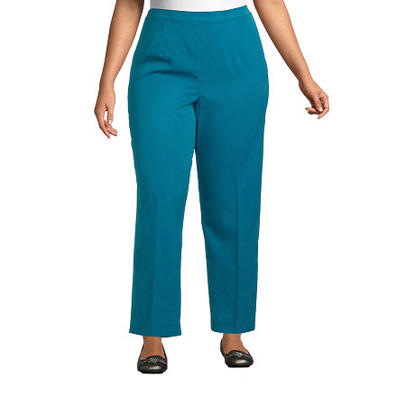 Alfred Dunner-Plus Short Womens Straight Flat Front Pant, 16w Short , Green