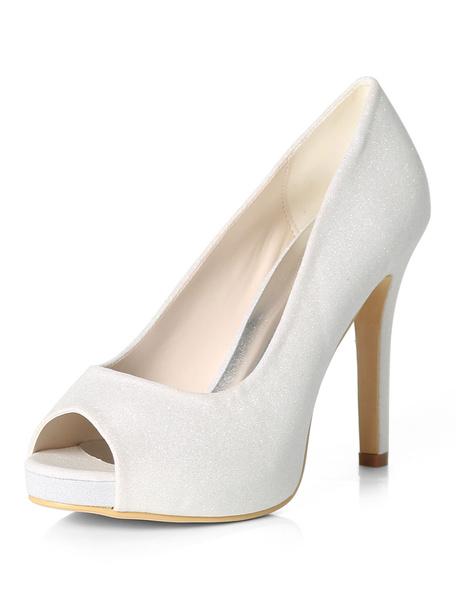 Milanoo Silver Wedding Shoes Glitter Peep Toe High Heel Prom Shoes Women Evening Shoes