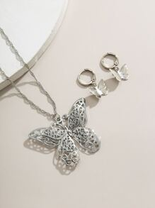 1pc Butterfly Charm Necklace & 1pair Drop Earrings