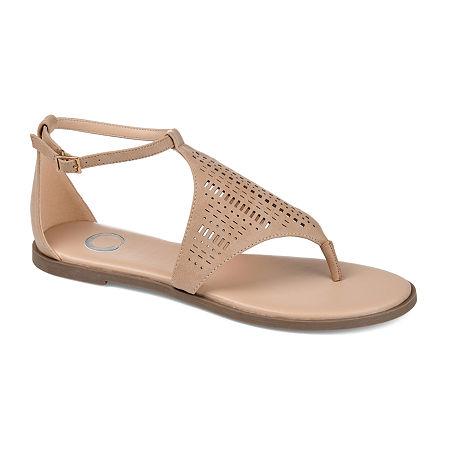 Journee Collection Womens Niobi Flat Sandals, 10 Medium, Beige