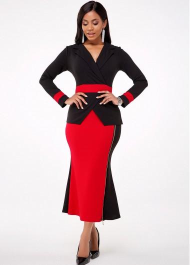 Cocktail Party Dress V Neck Long Sleeve Color Block Mermaid Dress - XL
