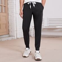 Men Drawstring Waist Carrot Pants
